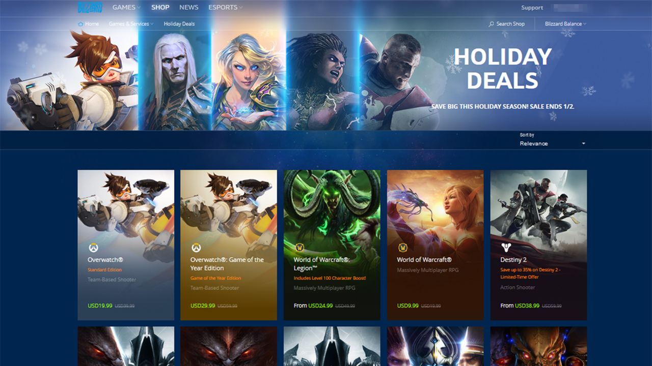 blizzard entertainment winter 2017 sale